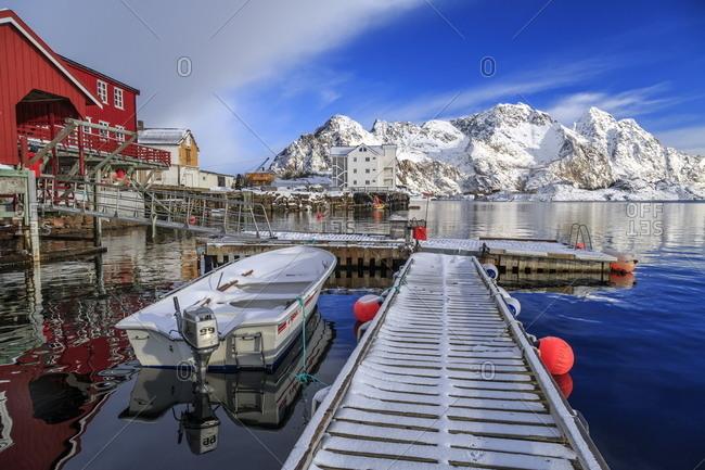 March 8, 2013: Boats docked in the harbor of Henningsvaer, Lofoten Islands, Norway