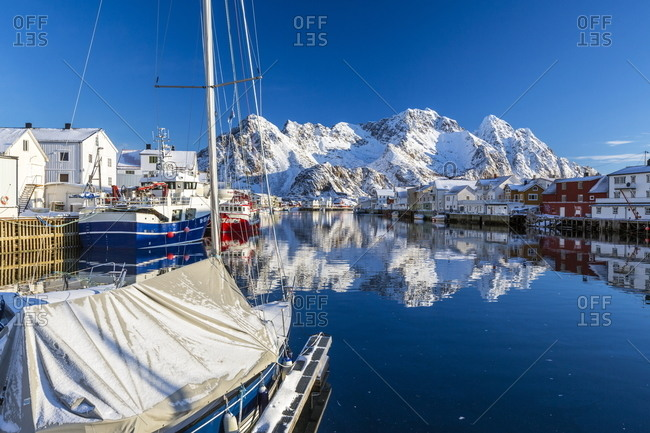 Port of Henningsvaer in the Lofoten Islands, Norway