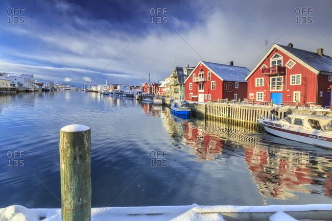 March 8, 2013: Houses in Henningsvaer in the Lofoten Islands, Norway