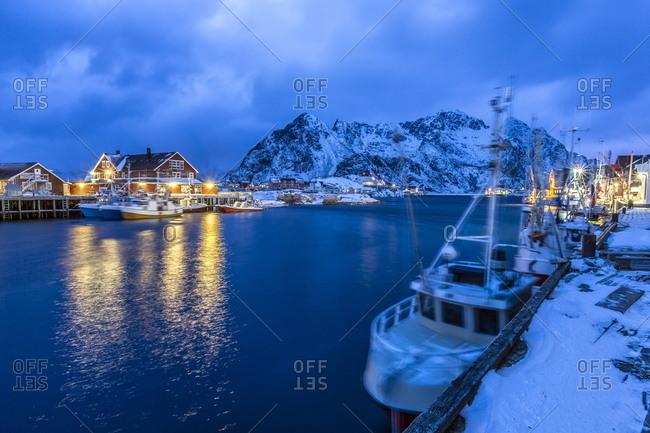Harbor of Henningsvaer in the Lofoten Islands, Norway