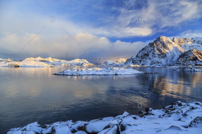 View of a fjord near Henningsvaer, Lofoten Islands, Norway