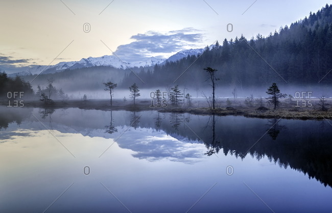 Fog at a pond of Pian di Gembro in Italy