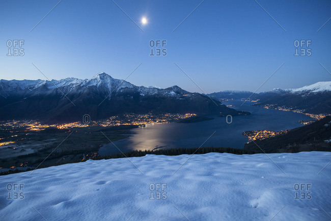 Lake Como under a full moon in Italy