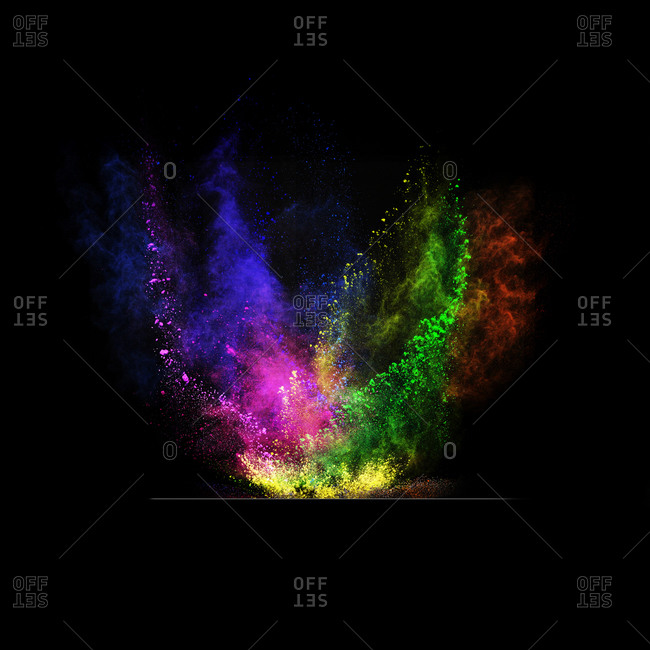 Holi powder exploding in various colors