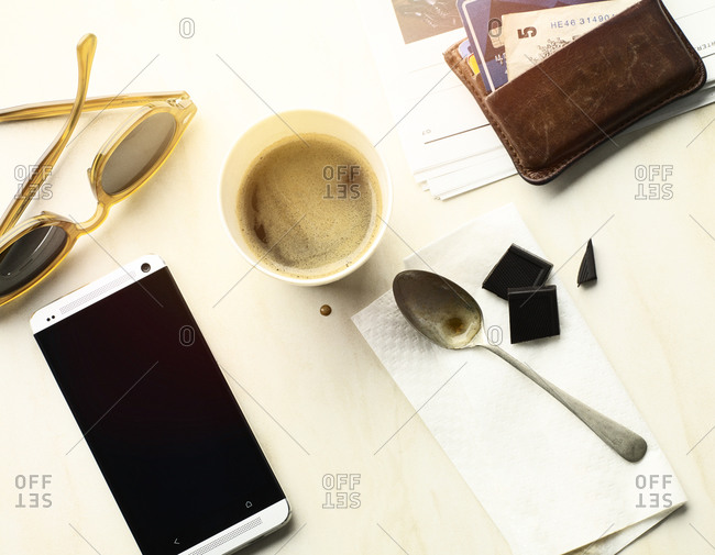 Morning coffee on table with accessories