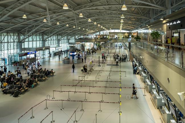 Busan, Korea - May 20, 2014: Inside Gimhae International Airport