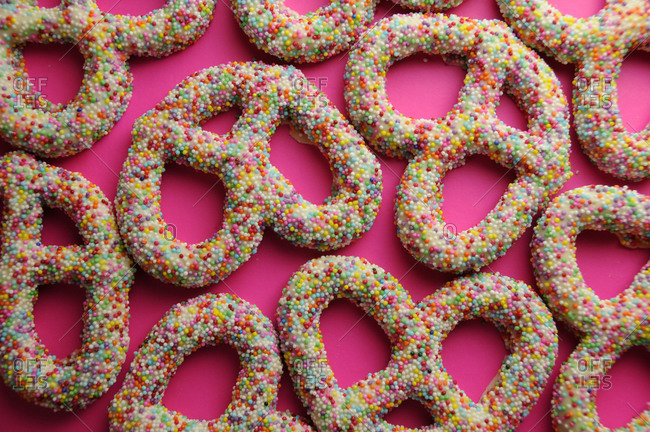 Yogurt-covered pretzels covered in nonpareils