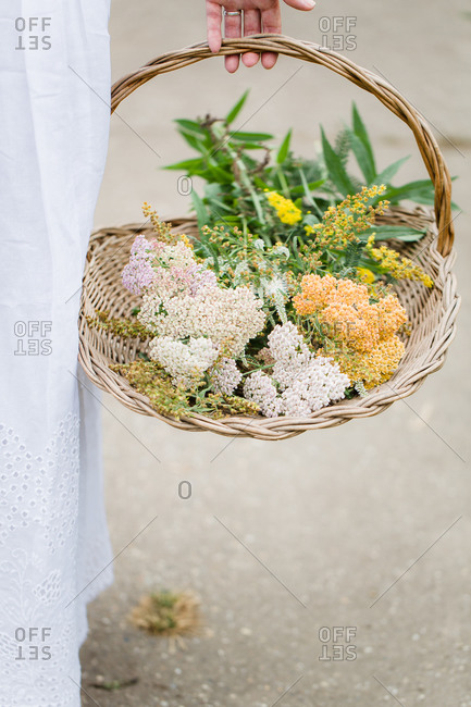 Woman holding a basket of fresh flowers