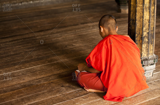 Buddhist monk studying in monastery