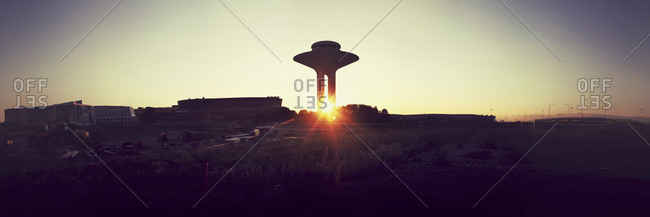 Malmo, Sweden - August 14, 2012: The Hyllie water tower in Malmo, Sweden