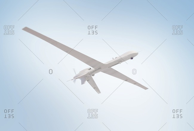Illustration of an unmanned drone flying in a clear sky