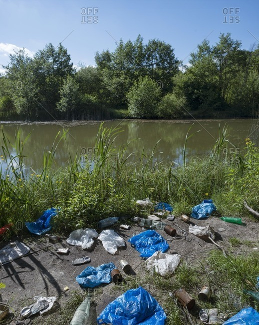 Plastic bags and waste on a lakeside