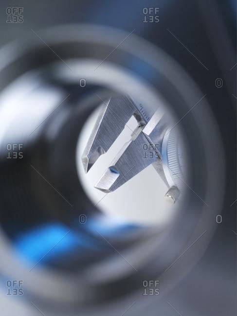 Close up of a dial caliper