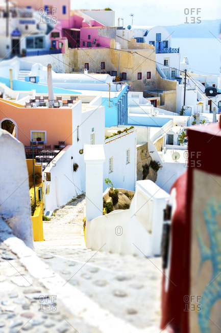 Houses and narrow streets in Santorini, Greece