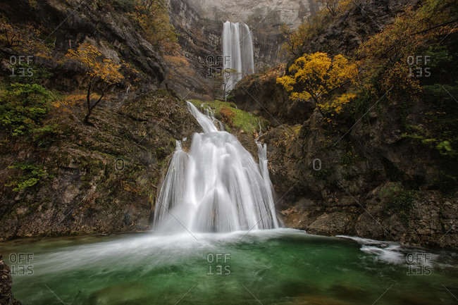 Waterfalls at the source of Mundo river in autumn