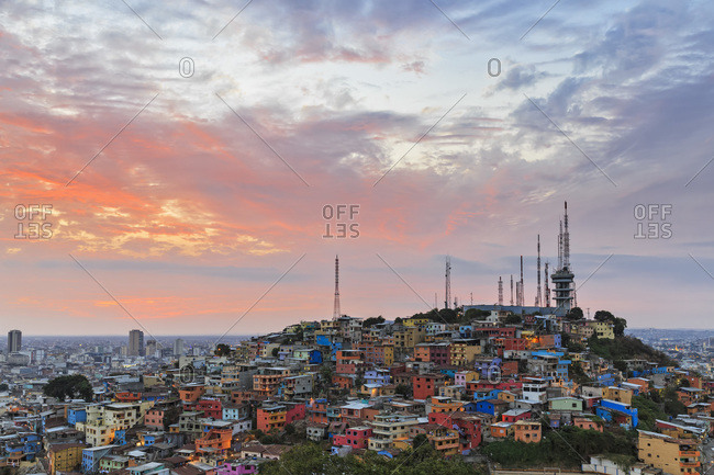 City view of Guayquil at sunset