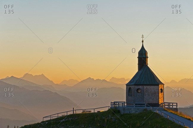 View from Wallberg to the Alps at evening twilight