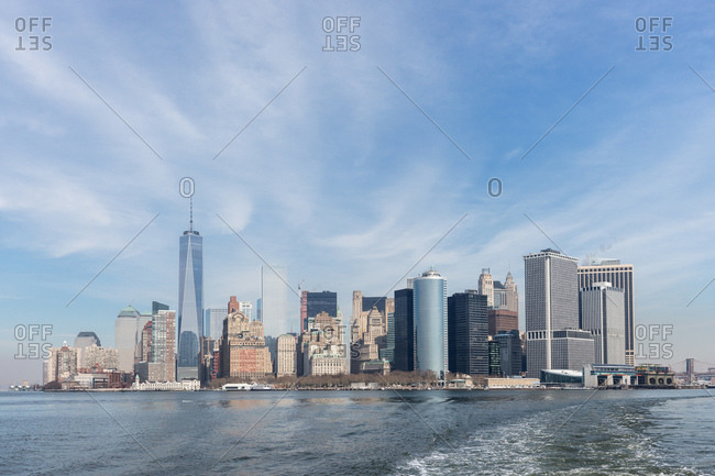 New York, NY, USA - February, 22, 2015: Lower Manhattan and New York Harbor as seen from a ferry