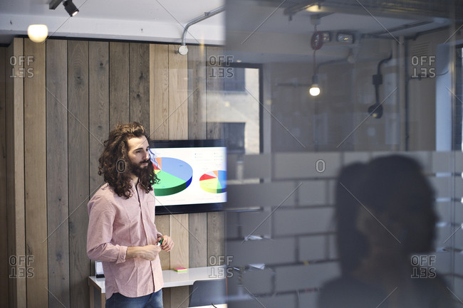 Small business employee leading presentation