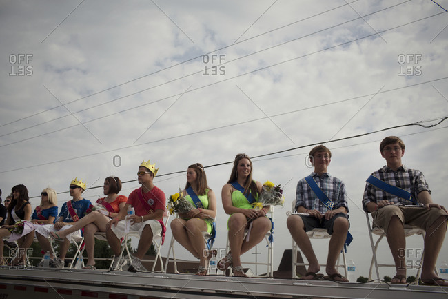 Twinsburg, Ohio - August, 2012: Teenage twins are crowned at a twin festival in Ohio
