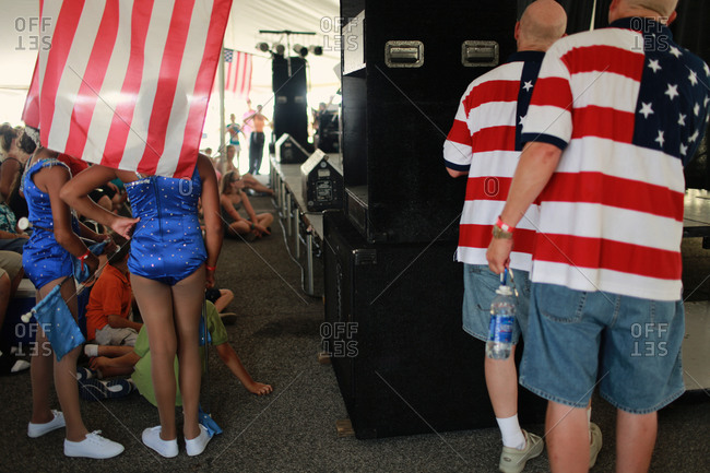Twinsburg, Ohio - August, 2012: Twins waiting to participate in the talent competition at the annual Twins Days Festival,
