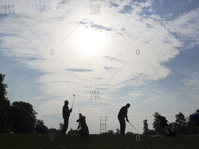 Twinsburg, Ohio - August 3, 2012: Twins golfing at the annual Twins Days Festival