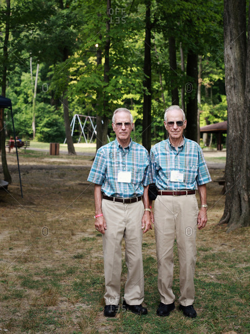Twinsburg, Ohio - August 4, 2012: Senior twin brothers during the annual Twins Days Festival