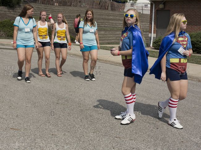 Twinsburg, Ohio - August 4, 2012: Twins teens at the annual Twins Days Festival