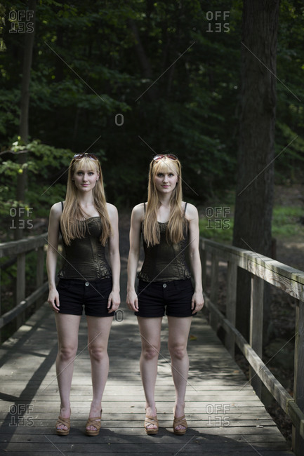 Twinsburg, Ohio - August 4, 2012: Two twins dressed in black at the annual Twins Days Festival