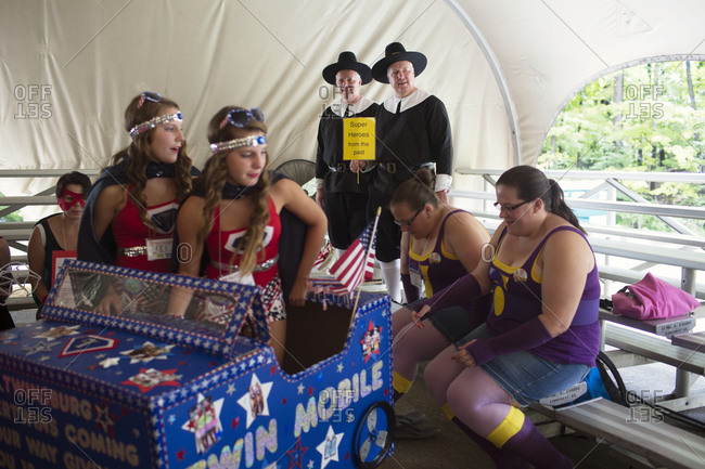 Twinsburg, Ohio - August 5, 2012: Twins in costumes gathered at the annual Twins Days Festival