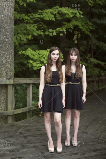Twinsburg, Ohio - August 5, 2012: Twin sisters in black at the annual Twins Days Festival