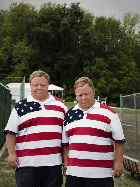 Twinsburg, Ohio - August 5, 2012: Patriotic twin brothers at the annual Twins Days Festival