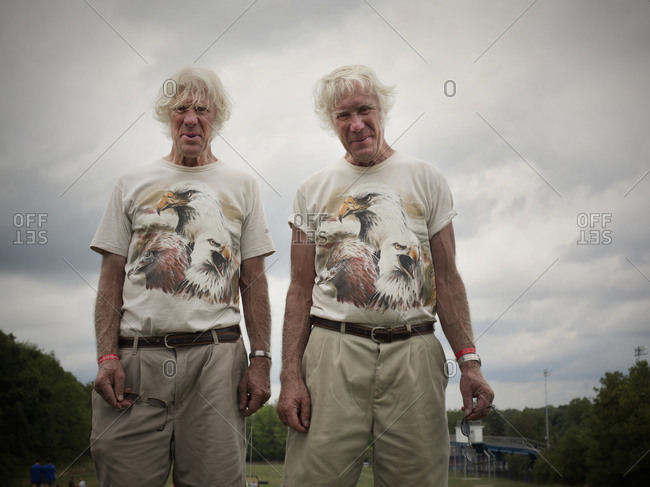 Twinsburg, Ohio - August 5, 2012: Identical twin brothers smile during the annual Twins Days Festival