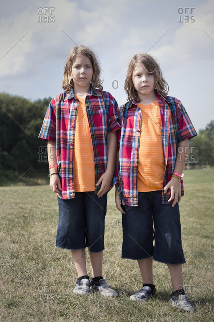 Twinsburg, Ohio - August 5, 2012: Identical twin brothers in plaid shirts at the annual Twins Days Festival