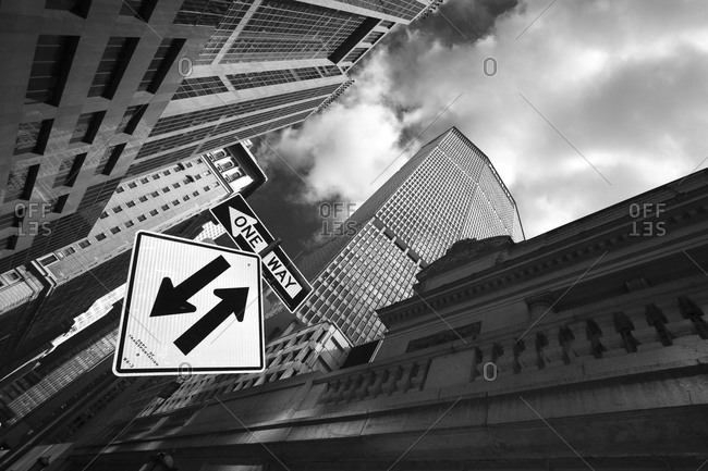 New York, NY, USA - March 3, 2015: Traffic sign in New York City
