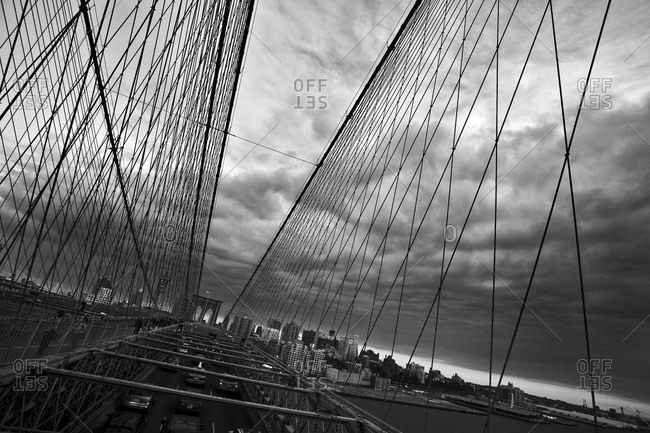 Cable suspensions of the Brooklyn Bridge in New York City