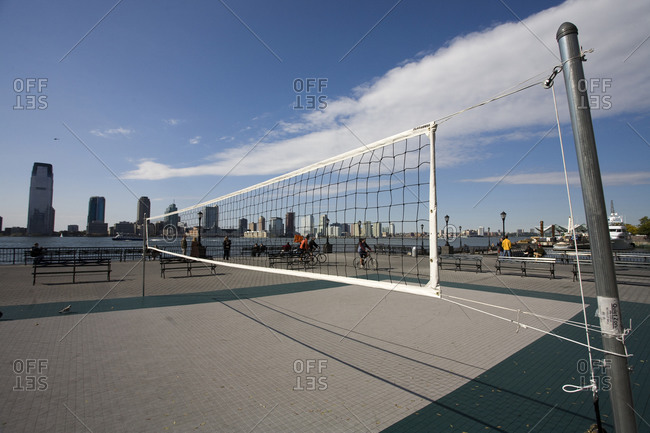 New York, NY, USA - October 4, 2008: Volleyball court at a promenade in New York City