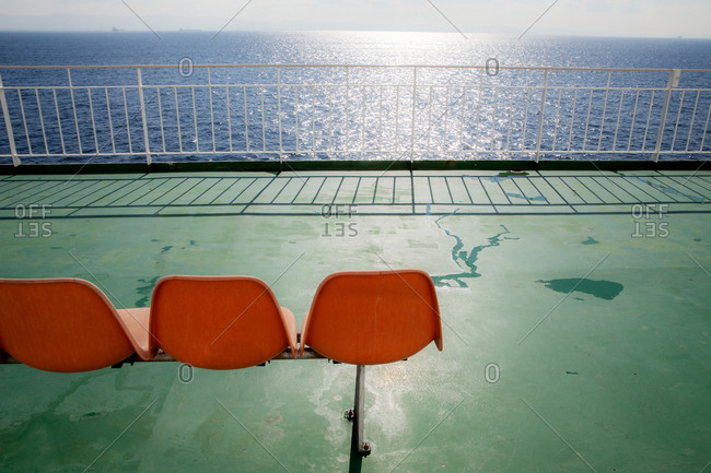 Empty deck of ferry boat in Asian waters