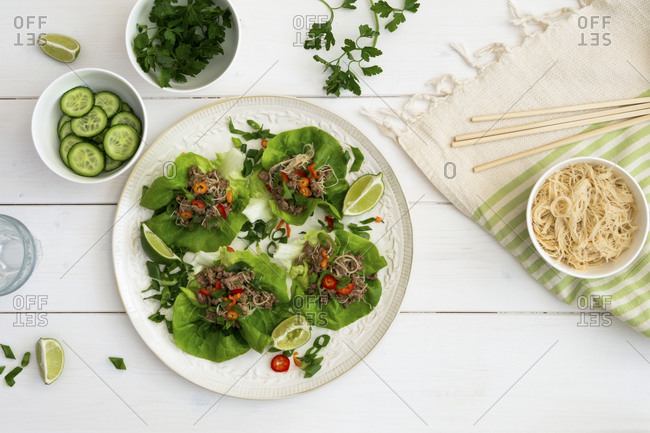 Healthy Asian beef and noodle lettuce wraps
