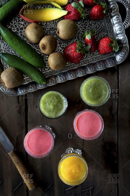 Mango, strawberry, kiwi and cucumber smoothies