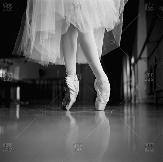 Knees-down shot of a ballet dancer