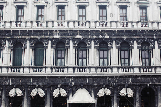 Venice, Italy - September 8, 2013: Exterior of the Procuratie Vecchie in Venice, Italy