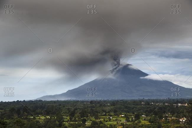 Mount Sinabung (Gunung Sinabung) erupting in Sumatra