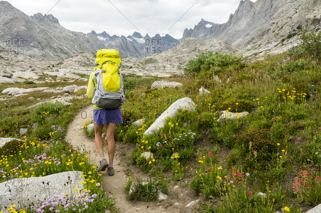 Woman hiker in Titcomb Basin, Wind River Range, Pinedale, Wyoming