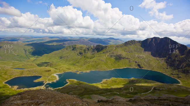 The lake Llyn Llydaw at Snowdonia national park in north Wales