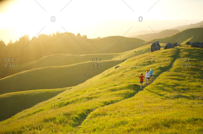 A group run trails in the Marin Headlands in California