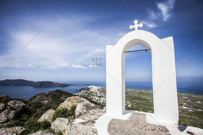 White archway in Santorini, Greece