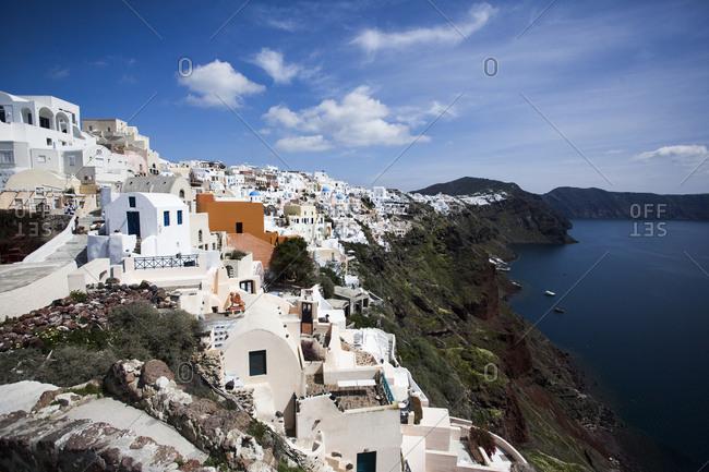 Cliffside view of Santorini, Greece