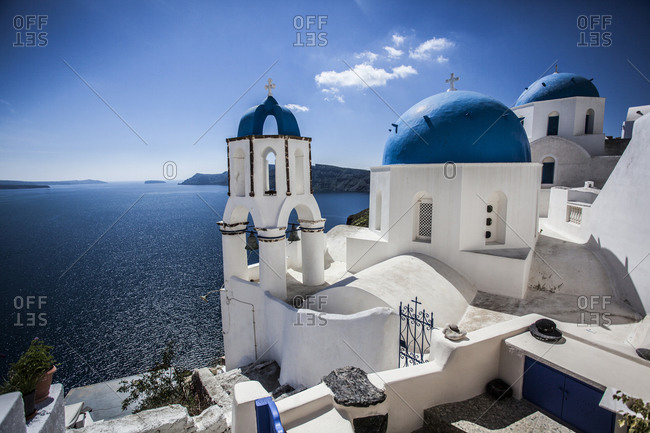 Blue domed rooftops in Santorini, Greece