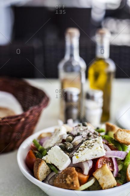 Greek salad at a restaurant in Santorini, Greece